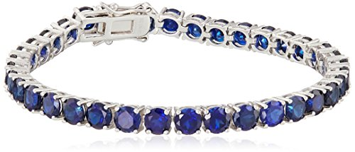 Created Blue Sapphire Round Cut Tennis Bracelet in Sterling Silver (5mm)