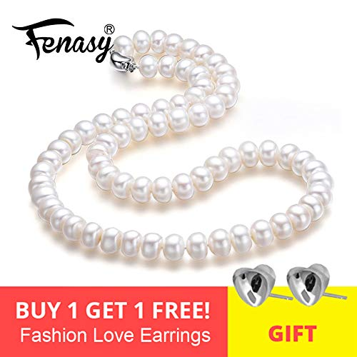 Fine Aaaa Natural Freshwater Pearl Necklace for Women 2018 New 7 10mm Pearl Jewelry 45cm Choker Necklace - Purple 8-9mm about 45cm