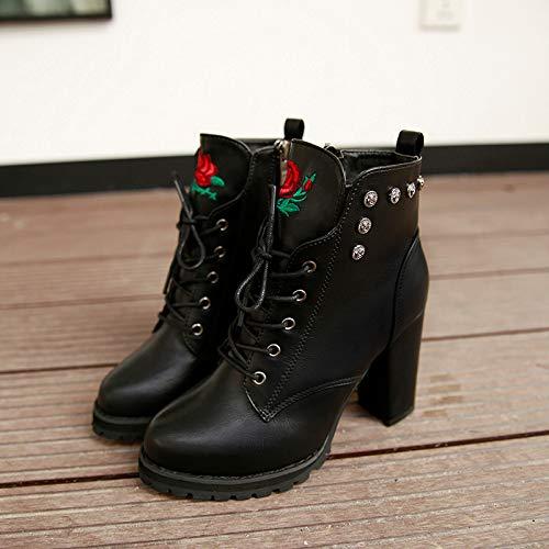 ❤ Botas de Invierno de Mujer talón, Plataforma de Dedo del pie Mujeres Retro Toe Cremallera Color sólido tacón Grueso Boots otoño Invierno Absolute: ...