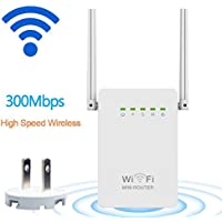 DOMOD 300Mbps WiFi Router Long Range Extender 2.4GHz WiFi Repeater Signal Amplifier Booster Network Extender with Dual Band Antenna Complies IEEE802.11n/g/b with WPS Repeater/Router/AP Mode