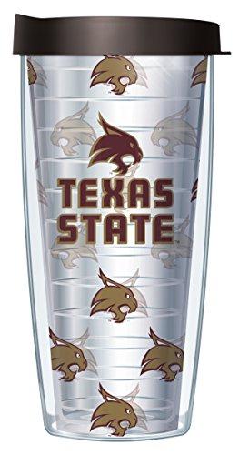 Texas State University Repeat Logo Clear 16 Oz Traveler Tumbler Mug with Lid ()