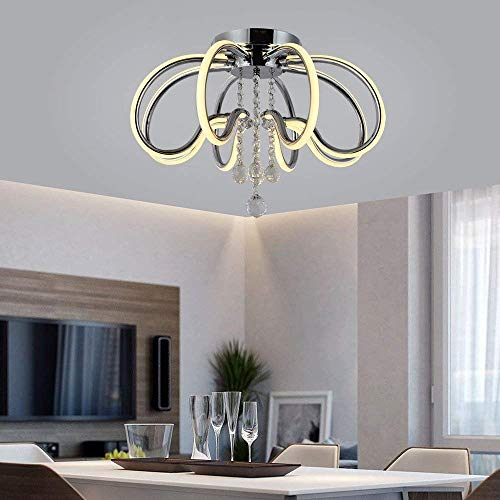LED Ceiling Light Fixture, Flush Mount Lamp Dimmable Chandelier Clear K9 Raindrop Crystal for Bedroom meetingroom Bedroom ()