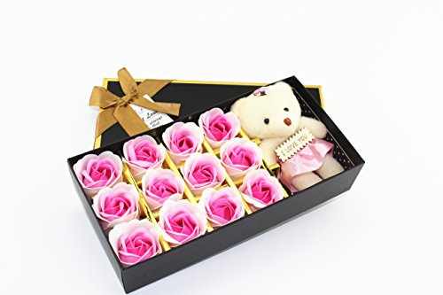 12Pcs Scented Bath Soap Rose Flower Petal With Little Bear and I Love You for Wedding Party Gift (Light (Rose Scented Bath)