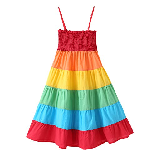 (Kid Girl Rainbow Dress Kid Princess SleevelessSpaghetti Strap Long Maxi Dresses Colorful Little Girls Summer Clothes Outfits (Multicolored, 6-7 Years))