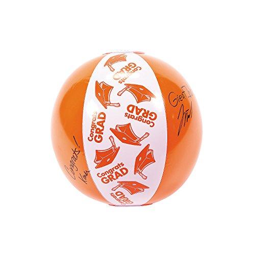 Fun Express - Orange Autograph Beach Ball for Graduation - Toys - Inflates - Beach Balls - Graduation - 12 -