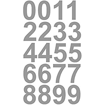 Amazoncom Sheet Of Inch Silver Numbers Vinyl Custom Street - Custom vinyl decals numbers