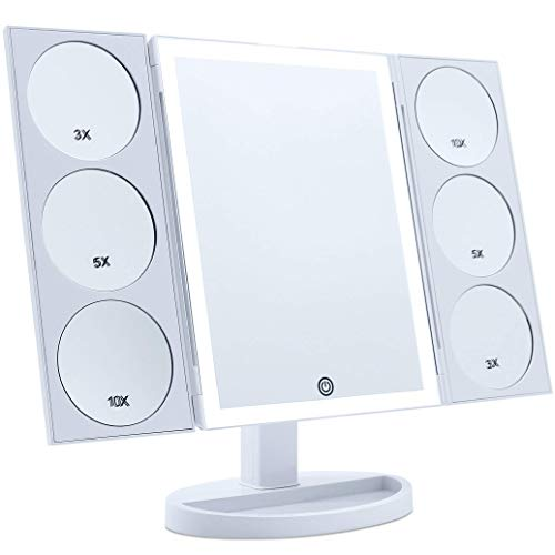 [2019 X-Large Model] Lighted Makeup Mirror, 44 LED Lights Vanity Mirror with Twin Magnifying Panels (3X/5X/10X) and Dual Power Supply, 360° Rotatable Trifold Mirror (White)