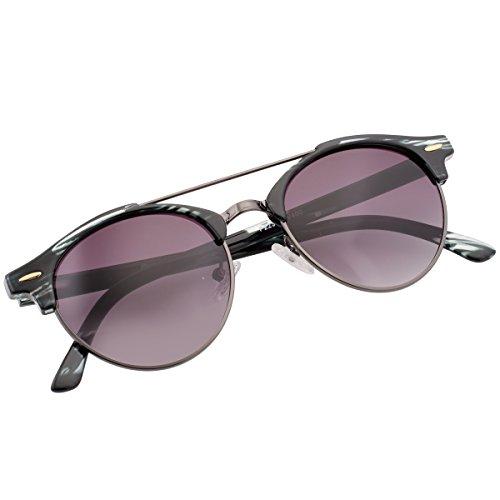 Clubround Double Bridge Semi Rimless Round Sunglasses Small Shades for Unisex P2237C - Original Who Made The Sunglasses Aviator