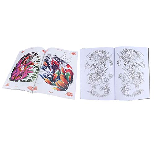 Chinese Traditional Koi Fish Flowers Tattoo Book Body Art Supply 74 Pages A4+ Classical Tragon Tattoo Design Manuscript 48 Pages A4