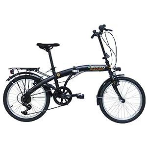 41KZnDGuhrL. SS300 Discovery 2722 FOLDING ACC, Bicicletta Pieghevole 20' Nero Opaco Unisex, 20