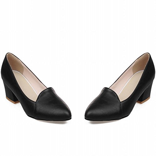 Mee Shoes Womens Charm Mid-calf Concise Block-heel Court Shoes Black GzhOp
