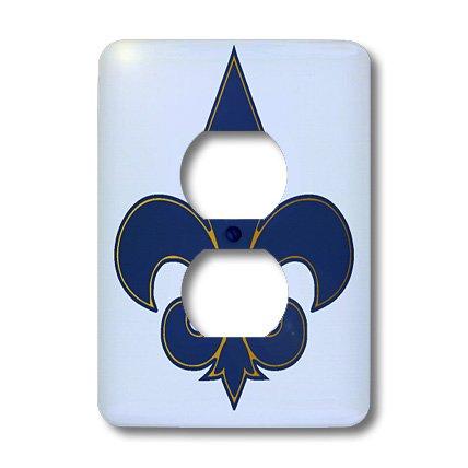 3dRose lsp_22361_6 Large Navy Blue And Gold Fleur De Lis Christian Saints Symbol 2 Plug Outlet Cover by 3dRose