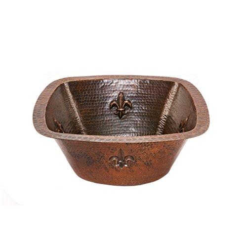7' Undermount Bar Sink - Square Fleur De Lis Copper Bar/Prep Sink 15″ W 3.5″ Drain Size, Oil Rubbed Bronze, Vessel Sink Bowl, Under Counter