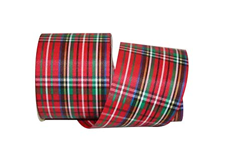 Wide Christmas RIBBON: Vibrant Christmas Red Tartan Plaid Ribbon, 2.5