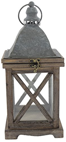 Park Hill 14'' x 6'' Rustic Style Wood Lantern by Park Hill