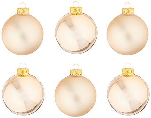 Kurt Ader 65mm Two-Tone Rose Gold Glass Ball Ornament Set of 6 (Two Tone Glass Ornament)