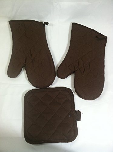 Kitchen Oven Mitt Pot Holder Kitchen Linens Oven Mitt Pot Holder Pack of 4 Oven Mitts & Pot Holders Kitchen Cooking & Baking Supplies (2 Pot Holders & 2 Oven Mitts) (brown) ()