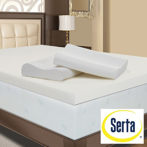 Serta 4-inch Memory Foam Mattress Topper with Contour Pillows (Queen)