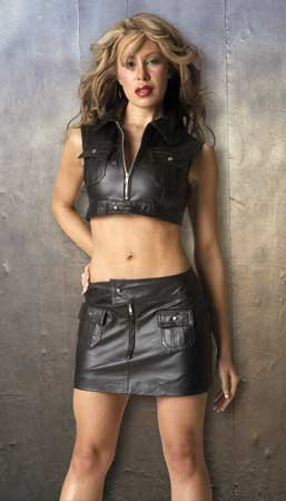 Leather Pocket Skirt Front Zipper Opening Front and Back Snap Pockets Sizes Small, Medium, Large or X-Large Shown with Y2L-5-108 Bustier