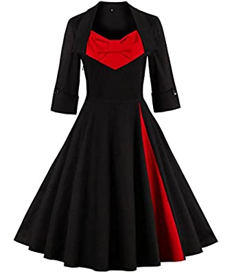 Tempt Me Women's Vintage Half Sleeve Classic A-line Pleated Cocktail Party Dress