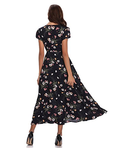 327ca7846176 Floating Time Women's Floral Print Short Sleeve Maxi Wrap Dress(L, 801302-2
