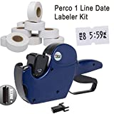 Perco 1 Line Date Label Gun Kit: Includes 8 Digits Date Gun Labeler, 10,000 Plain White Labels, Label Scraper,