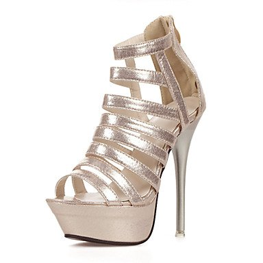 LvYuan Mujer-Tacón Stiletto-Zapatos del club-Sandalias-Vestido-PU-Plata Oro Gold