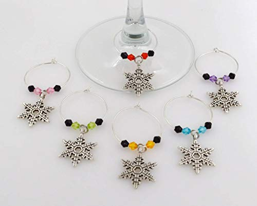Velour Snowflake - Snowflake Wine Glass Charms - 6 Piece Cocktail Drink Charm Set in Black Velour Gift Pouch (WGC 48F)