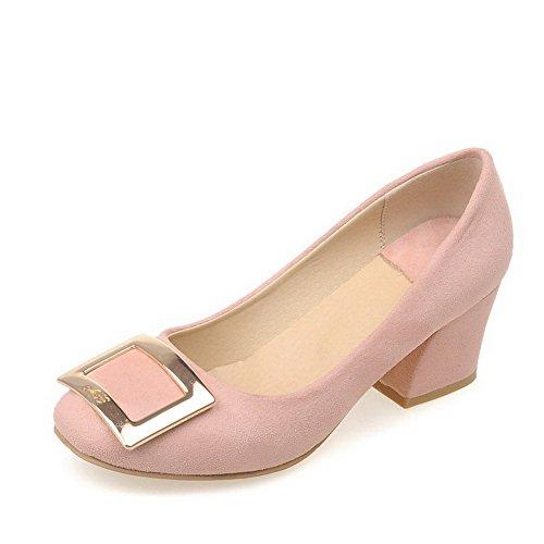 AllhqFashion Damen Nubukleder Rein Ziehen auf Quadratisch Zehe Mittler Absatz Pumps Schuhe Pink