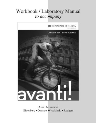 Workbook / Laboratory Manual for Avanti : Beginning Italian, 3rd Edition