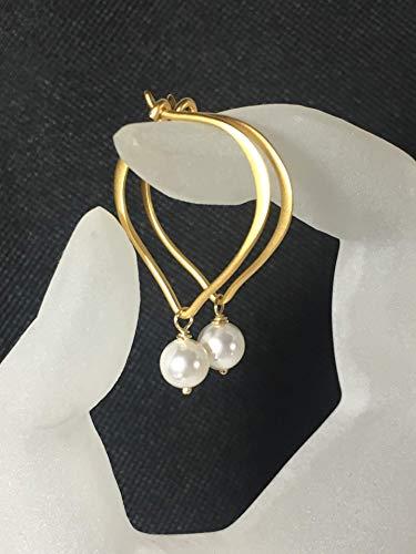 , Gold Vermeil Lotus Petal Earrings, White Crystal ()