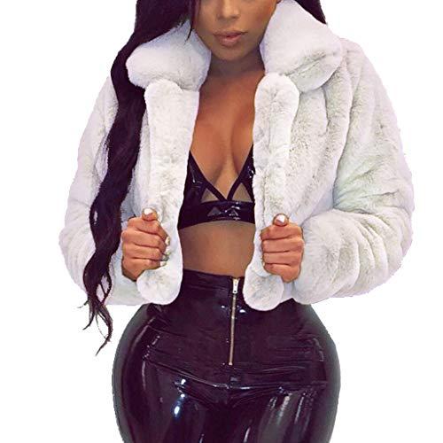 Creazrise Womens Turn-Down Collar Faux Fur Lined Warm Coats Parkas Outwear Winter Long Jackets (White,XXL)