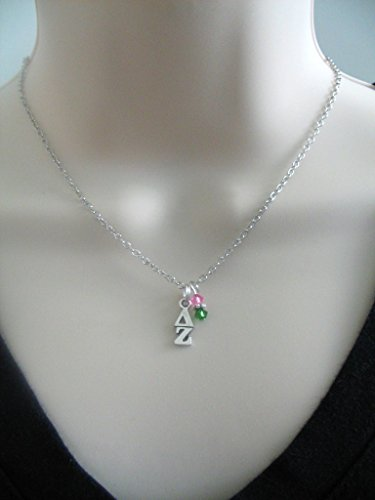 Delta Zeta DZ Lavaliere Sorority Colors Necklace Pink Green OFFICIALLY LICENSED PRODUCT