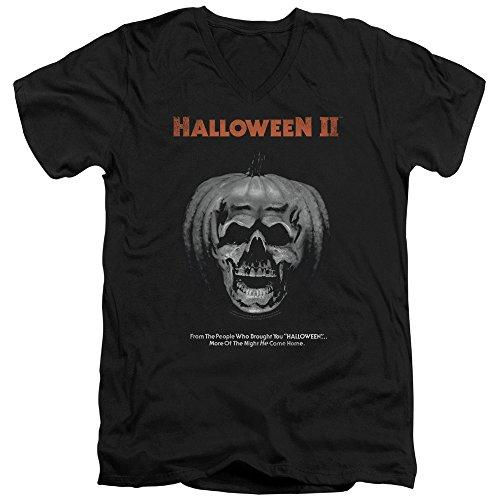 Halloween II Horror Slasher Movie Jack O'Lantern Poster Adult V-Neck (Halloween O Filme 2)