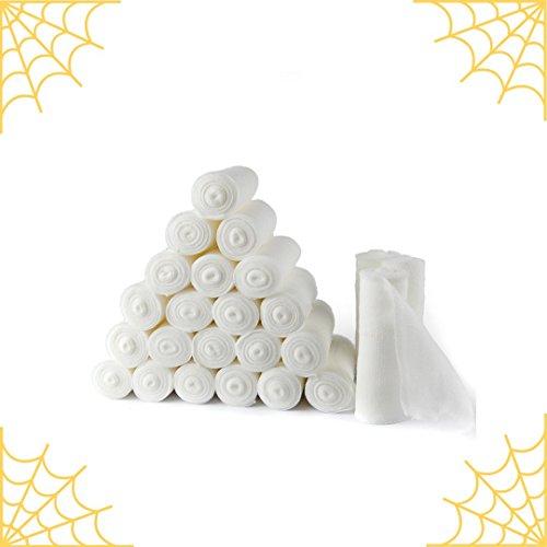 D&H Medical 24 Bulk Pack Gauze Stretch Bandage Roll, 4 Inch Length x 4 Yards FDA Approved, Halloween Mummy Wrap (Top Hats In Bulk)