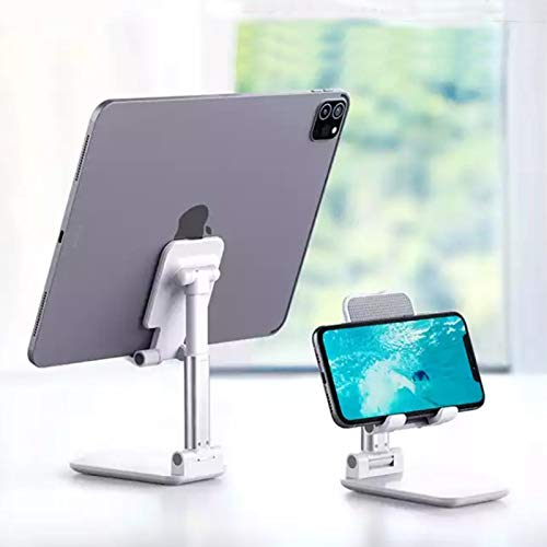 Foldable Cell Phone Stand, Height Telescopic and Angle Adjustable Desk Phone Holder Fits with Android Smartphones, iPhones, iPad, Kindle, and More Device with Screen up to 11 inch (Pearl White)