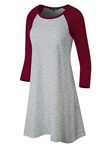 Jersey Cap Sleeve Raglan Shirt - Fashion California FACA Womens Baseball 3/4 Raglan Sleeve Jersey Tunic Dress (Small, H.Grey/Burgundy)
