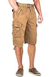 North 15 Mens Belted Cotton Military Style Multi Pocket Cargo Short-153009-Rd-38