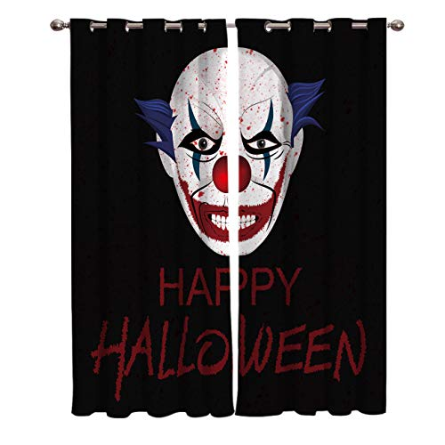 Blackout Curtains 2 Panels Darkening Draperies & Curtains,Happy Halloween Horrible Clown Pattern Blackout Window Curtains,Thermal Insulated Blackout Curtains for Living Room Bedroom,80