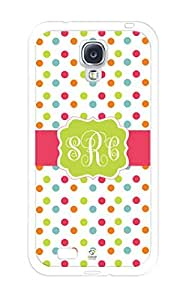 iZERCASE Monogram Personalized Colorful Small Polka Dots Pattern RUBBER Samsung Galaxy S4 Case - Fits Samsung Galaxy S4 T-Mobile, AT&T, Sprint, Verizon and International (White)