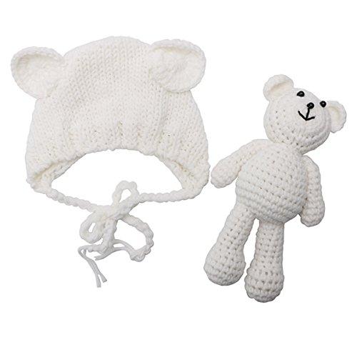 Newborn Baby Bear Hat Beanie with Bear Dolls Photography Accessories,White