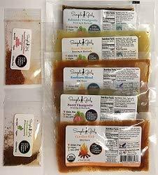 (Simple Girl Sample Pack - Organic, Low Sugar, Sugar-Free Dressing and Sauce Samples - No MSG, Carb Free, Vegan, Diabetic Friendly, All Natural)
