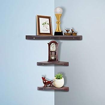 Yankario Solid Walnut Wood Corner Floating Shelves Wall Mounted, Set of 3, Natrual