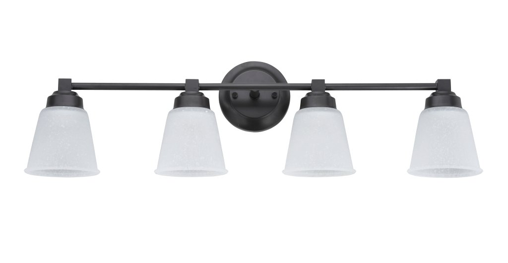 Aspen Creative 62071-2, Four-Light Metal Bathroom Vanity Wall Light Fixture, 30'' Wide, Transitional Design in Oil Rubbed Bronze with Clear Etched Glass Glass Shade