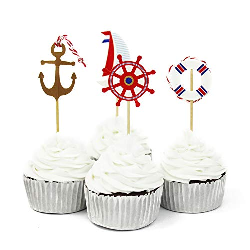 48 Pcs Nautical Theme Cupcake Picks Cupcake Toppers Food Fruit Picks for Decoration by -