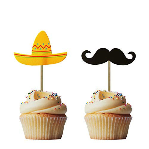 Morndew 24 PCS Sombrero Mustache Cupcake Toppers Insert Picks Decorations for Mexican Fiesta Themed Party Birthday Party Baby Shower Wedding Party -