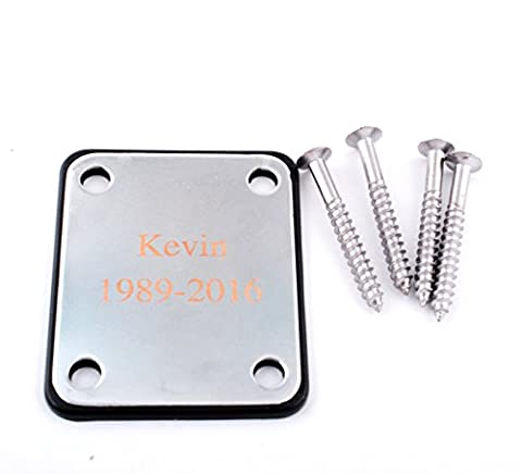 GP Personalized Engraved Silver Chrome Guitar Neck Plate with Screws for Electric Guitar Part (Electric Guitar Neck Replacement)