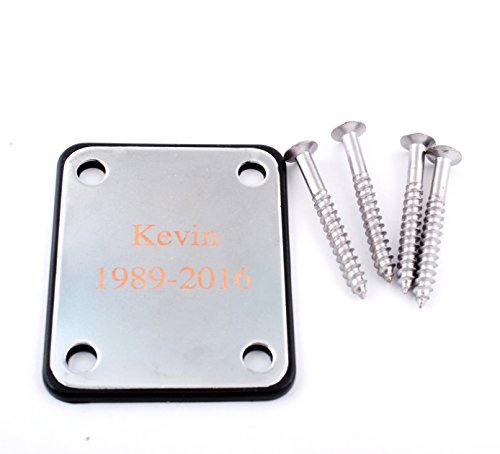 (GP Personalized Engraved Silver Chrome Guitar Neck Plate with Screws for Electric Guitar Part Replacement )