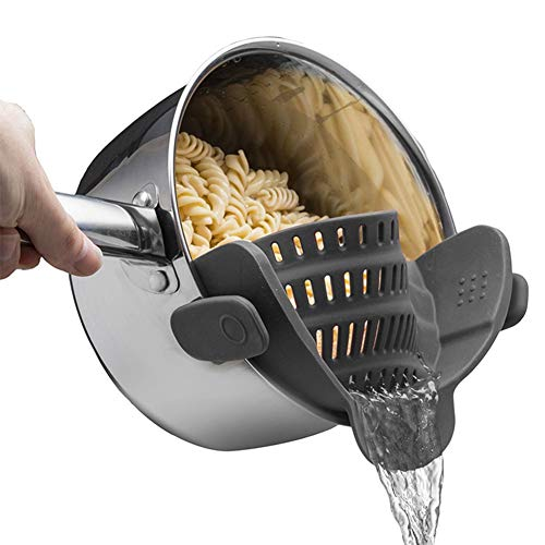 Clip-on Silicone Snap on strainer,Fits all Pots and Bowls Even with a lip,Colander & Drainer, Pan Strainer- Spaghetti, Ground Beef Grease, Vegetables Strainer,PBA ()
