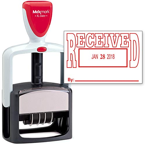 (2000 Plus Heavy Duty Style Date Stamp with Received self Inking Stamp - Red Ink)
